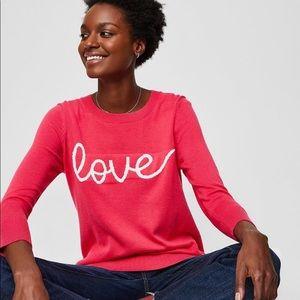 Loft 'Love' Print Sweater Pink Long Length Large